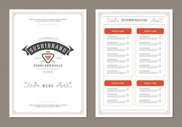 寿司レストランメニューデザインとロゴベクトルのパンフレットの型板。 Premiumベクター