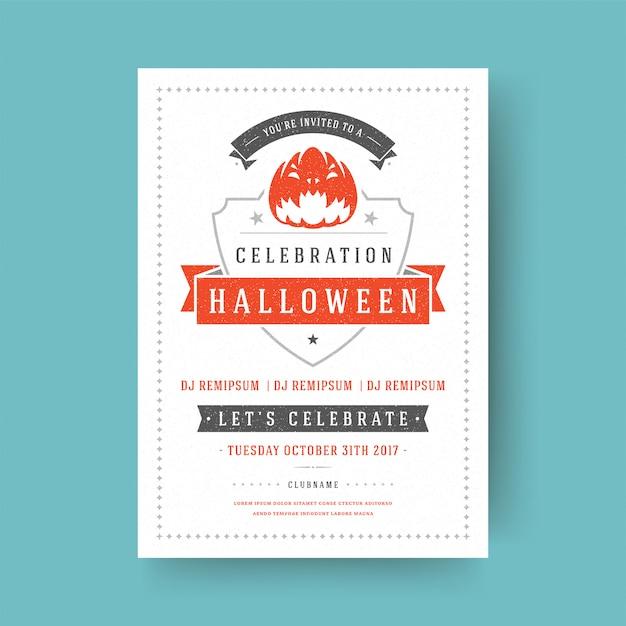 ハロウィーンパーティーのフライヤーのお祝い夜パーティーポスターデザインヴィンテージタイポグラフィテンプレート Premiumベクター
