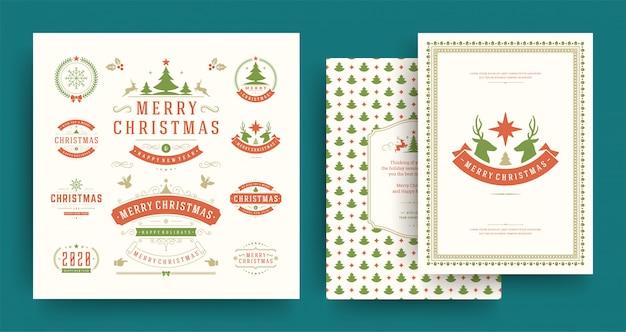 クリスマスラベルとバッジの要素は、グリーティングカードテンプレートで設定します。 Premiumベクター