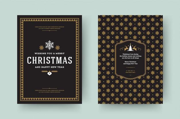 Рождественская открытка винтаж типографская Premium векторы