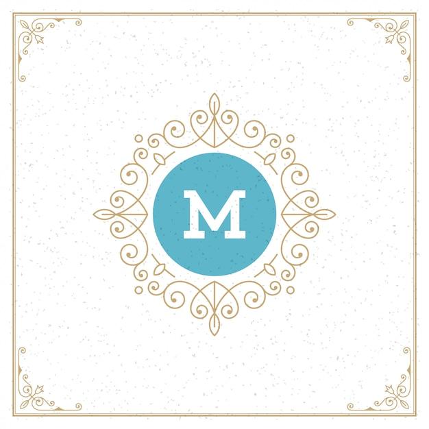 Старинный логотип шаблон монограммы, золотые элегантные украшения процветает с декоративной рамкой границы Premium векторы