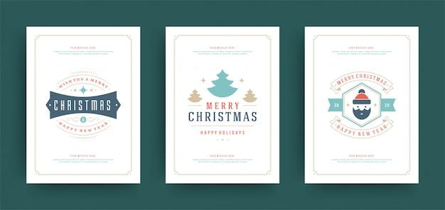 クリスマスのグリーティングカードセットの装飾とデザインテンプレート Premiumベクター