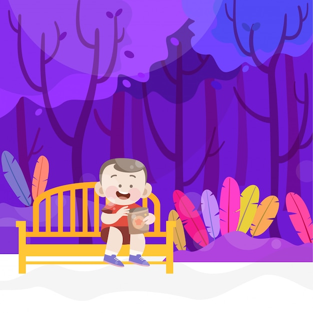 幸せな子供は公園のベクトル図でおやつを食べる Premiumベクター