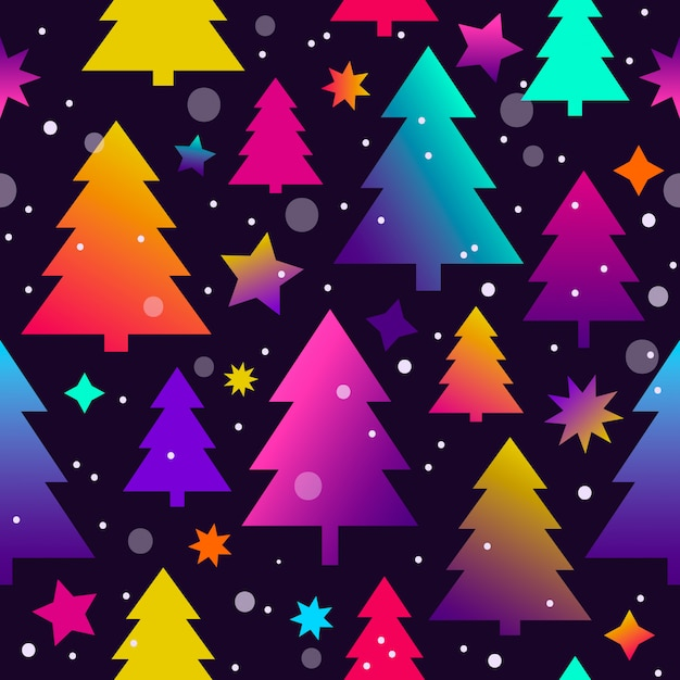 Бесшовный новогодний фон с елками и звездами Premium векторы
