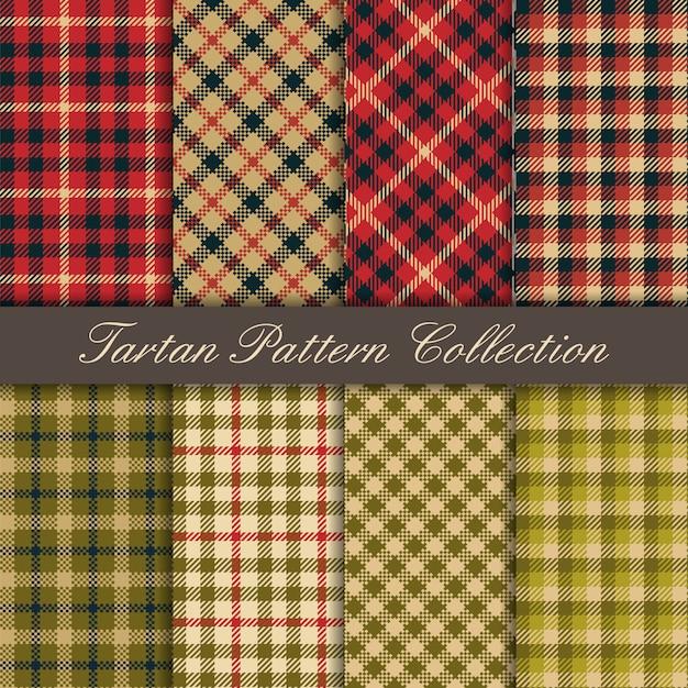 Бесшовные текстуры коллекции тартан Premium векторы