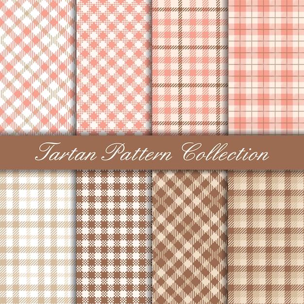 ピンクのエレガントなタータン模様のコレクション Premiumベクター