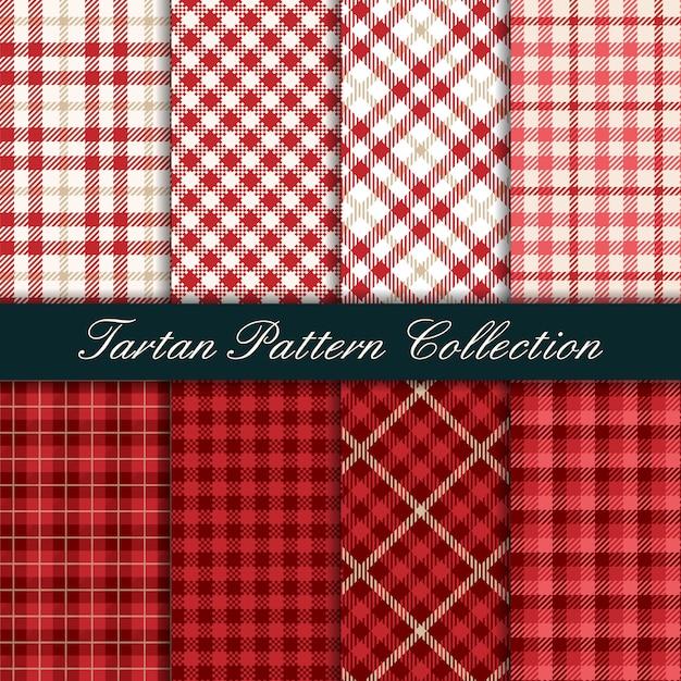 赤いタータンシームレスパターンのコレクション Premiumベクター