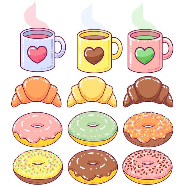 かわいい朝食の要素 Premiumベクター