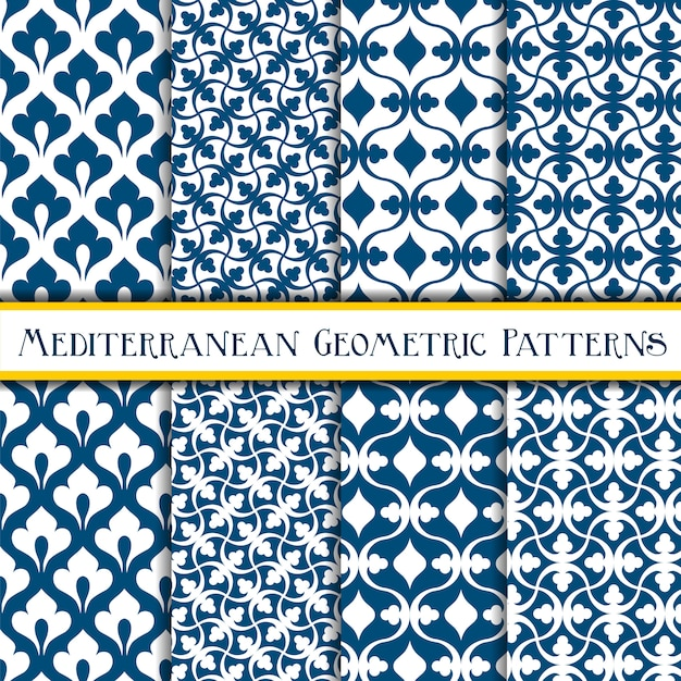 Синий элегантный геометрический средиземноморский бесшовные модели Premium векторы