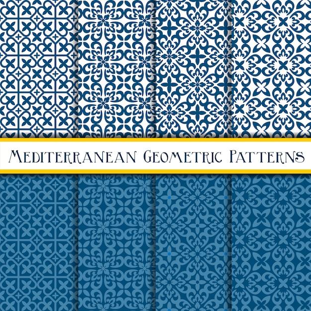 Коллекция геометрических средиземноморских бесшовные модели Premium векторы