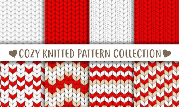 Коллекция вязаных узоров красный белый бежевый Premium векторы