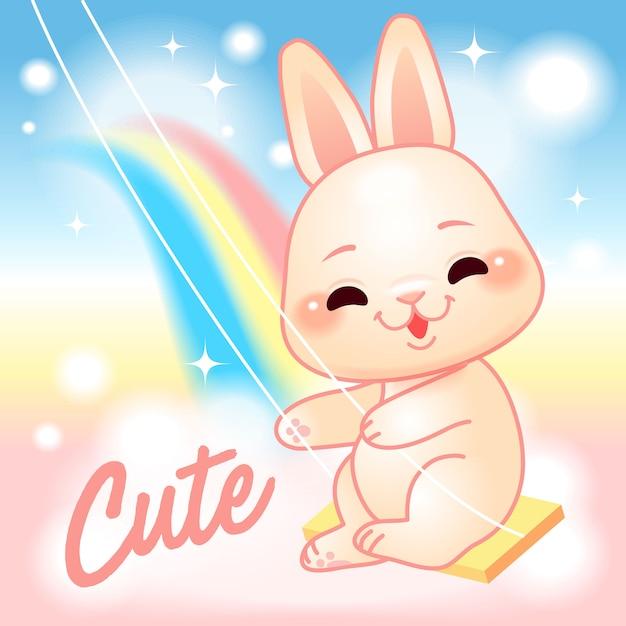スイング、虹ファンタジーの世界でかわいいウサギ Premiumベクター
