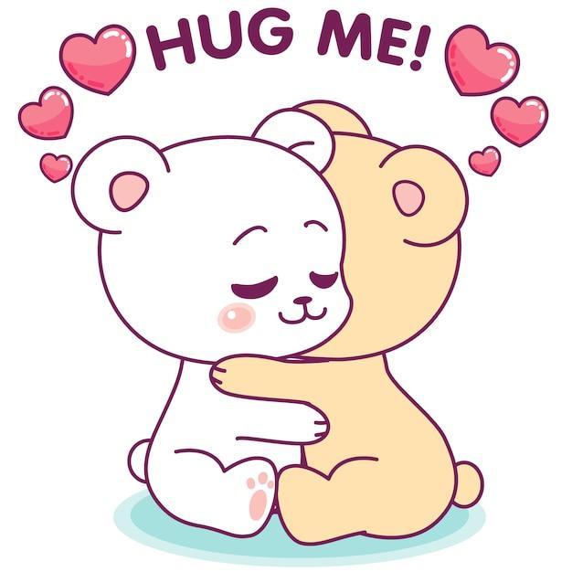 お互いを抱き締める愛らしい小さなクマ Premiumベクター