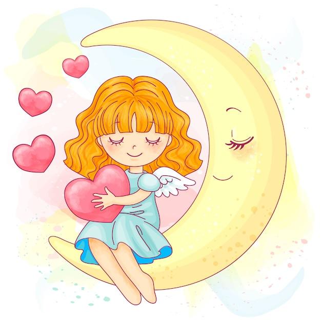 月に座っているかわいい小さな水彩女の子 Premiumベクター