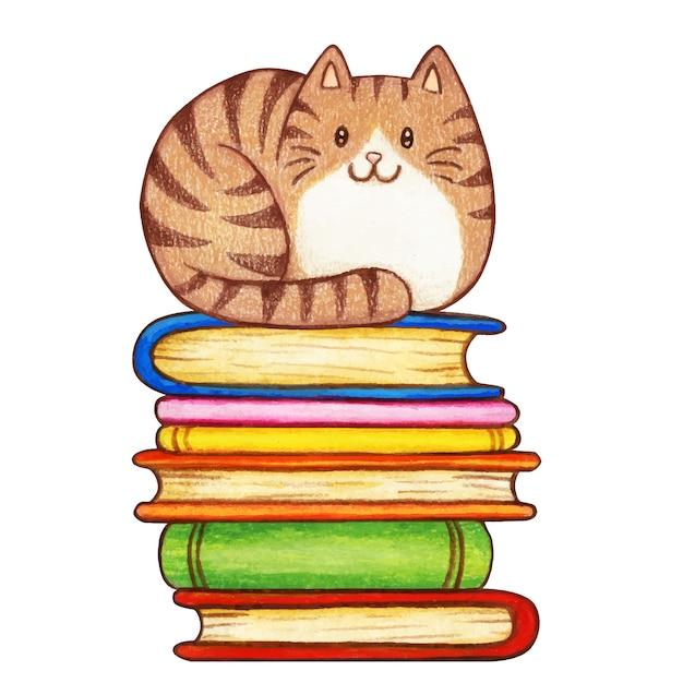 書籍のスタックにかわいい水彩ぶち子猫 Premiumベクター