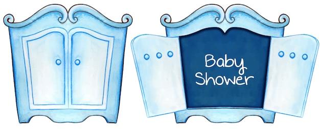 水彩ブルーベビーシャワーの招待状カードキャビネット Premiumベクター