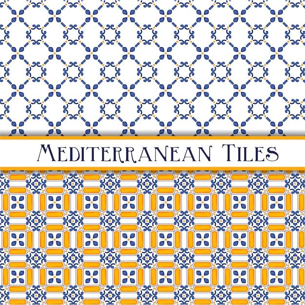 Красиво расписанные средиземноморские традиционные плитки Premium векторы