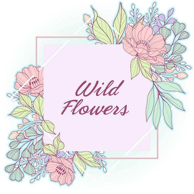 パステル調の野生の花の繊細な幾何学的なフレーム Premiumベクター