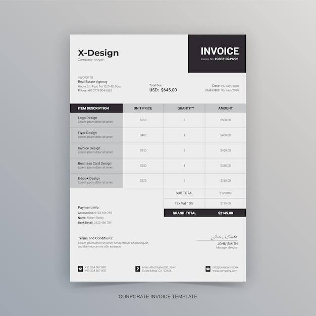 Простой минималистичный бланк бизнес-счета Premium векторы