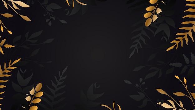 黒い背景に黄金の花 Premiumベクター