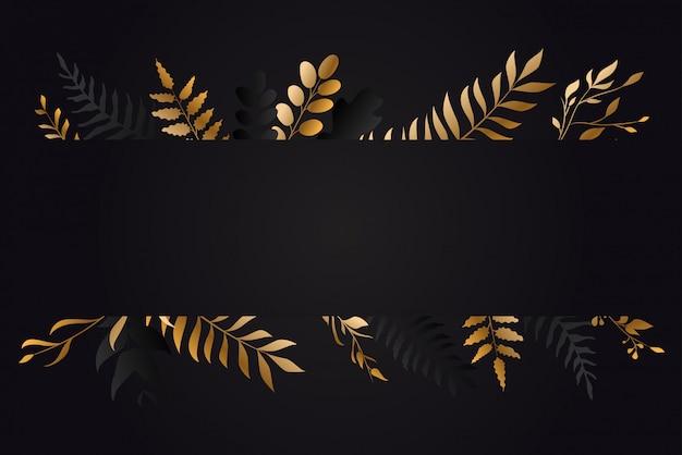 ゴールドの花のグリーンカードデザイン Premiumベクター