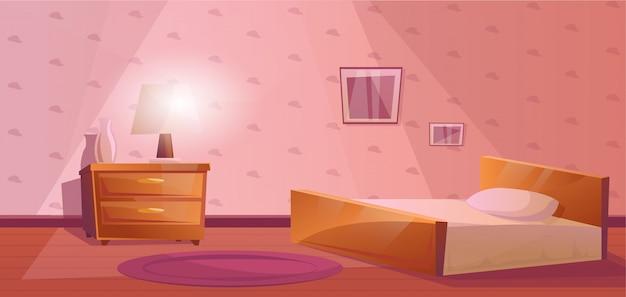 ベッドとナイトスタンド付きのベッドルーム Premiumベクター