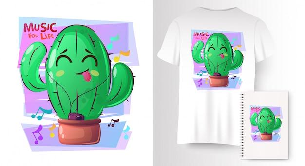 Растения кактуса в мультяшном стиле на макете футболки Premium векторы