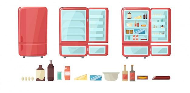 Холодильник полон еды. пустой и закрытый холодильник установлен. Premium векторы