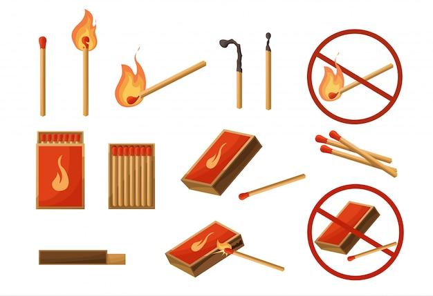 大きなセットに一致します。火で燃えるマッチ、開いたマッチ箱、木炭。ライト。火に署名しません。分離されたベクトルイラスト漫画スタイル Premiumベクター