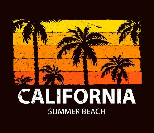 カリフォルニアの夏のビーチのポスター Premiumベクター