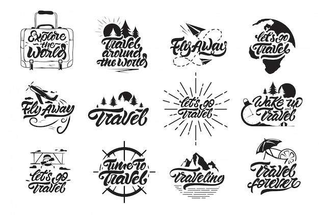 旅行はレタリングスタイルでロゴを設定します。 Premiumベクター