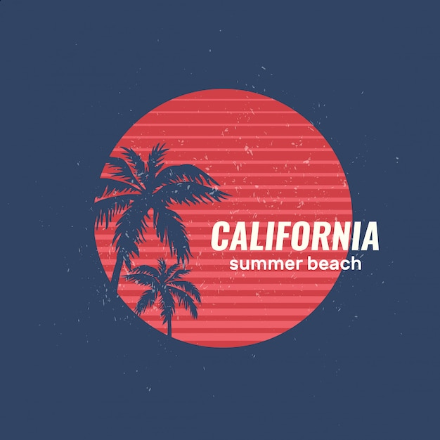 カリフォルニアの夏のビーチのロゴ Premiumベクター