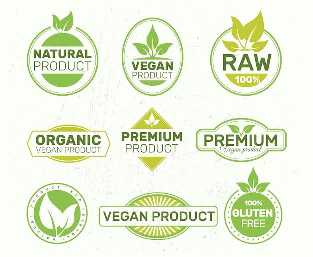 エコラベル、有機、新鮮、健康のセット。 Premiumベクター