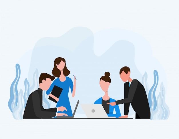 Концепция офисных работников и бизнесменов делают групповое обсуждение Premium векторы