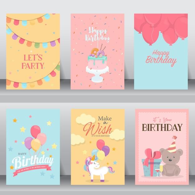 С днем рождения милая открытка Premium векторы