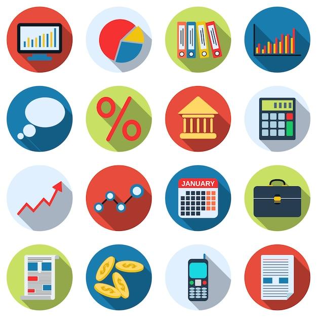 ビジネスと財務管理のアイコンのコレクション。フラットデザインイラストベクトルセット Premiumベクター