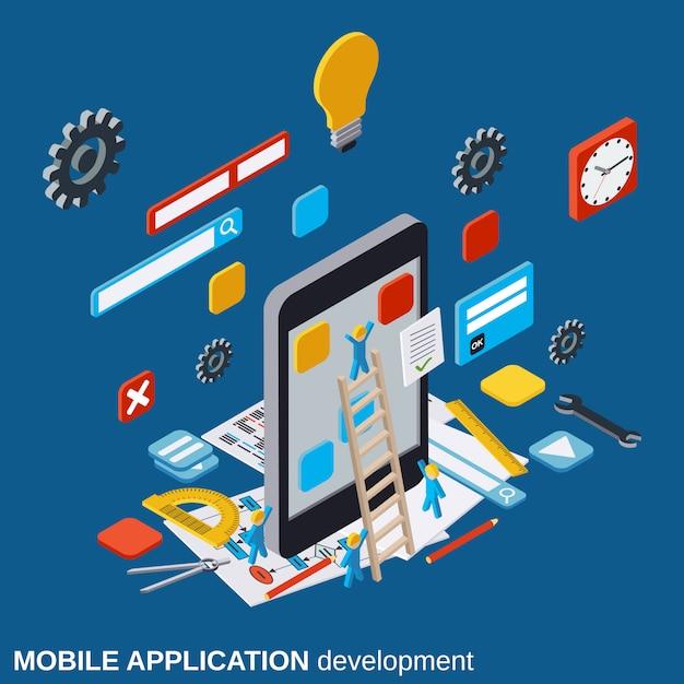 モバイルアプリケーション開発ベクトルの概念図 Premiumベクター