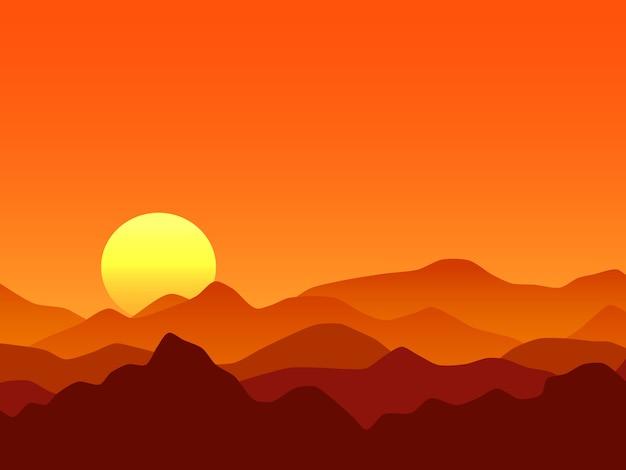 オレンジ色の山々の日の出のベクトルの背景 Premiumベクター