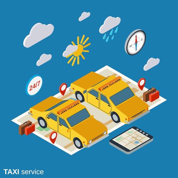 タクシーサービスのアイソメ図 Premiumベクター