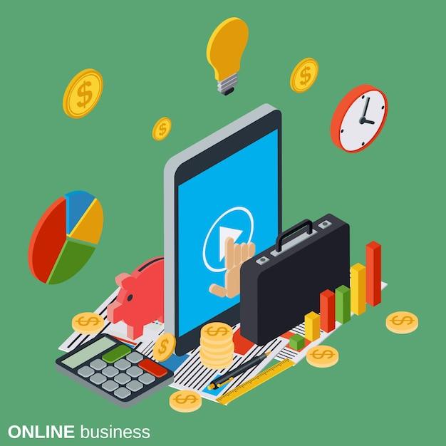 Интернет бизнес иллюстрация Premium векторы
