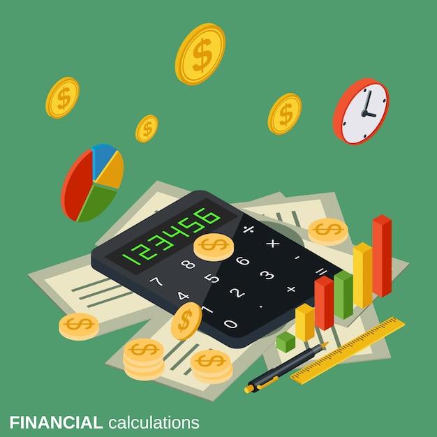 Иллюстрация финансовых расчетов Premium векторы