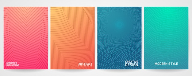 Набор минимального дизайна обложки с современным геометрическим рисунком Premium векторы