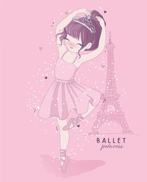 パリのシーンと手描きのかわいい女の子バレエダンス Premiumベクター