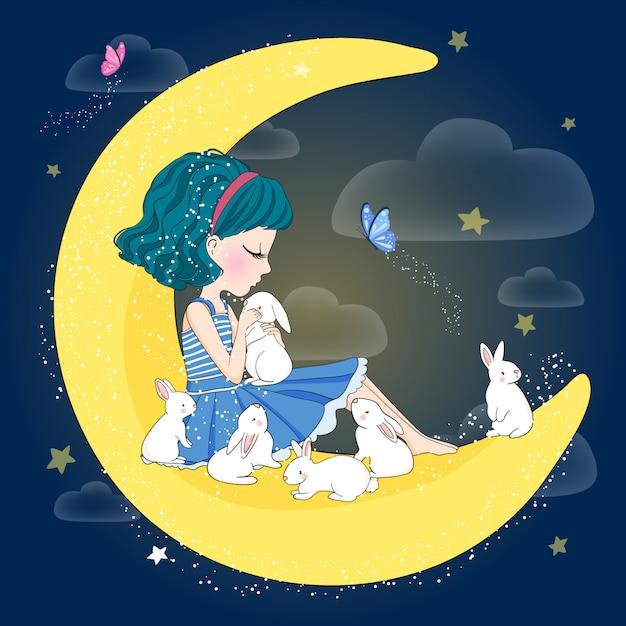 Нарисованная рукой милая девушка с кроликом Premium векторы