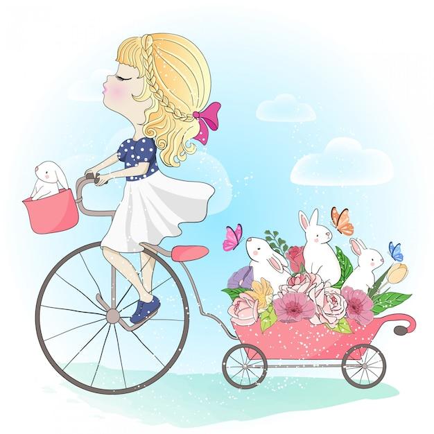ウサギと手描きのかわいい女の子 Premiumベクター