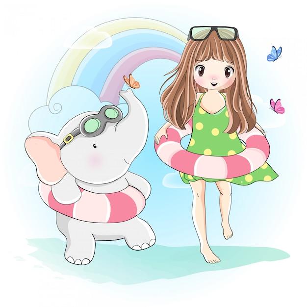 かわいい女の子と小さな象が泳ぎに行く Premiumベクター