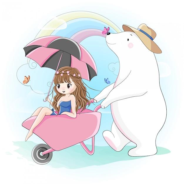 かわいい女の子とシロクマが屋外で歩く Premiumベクター