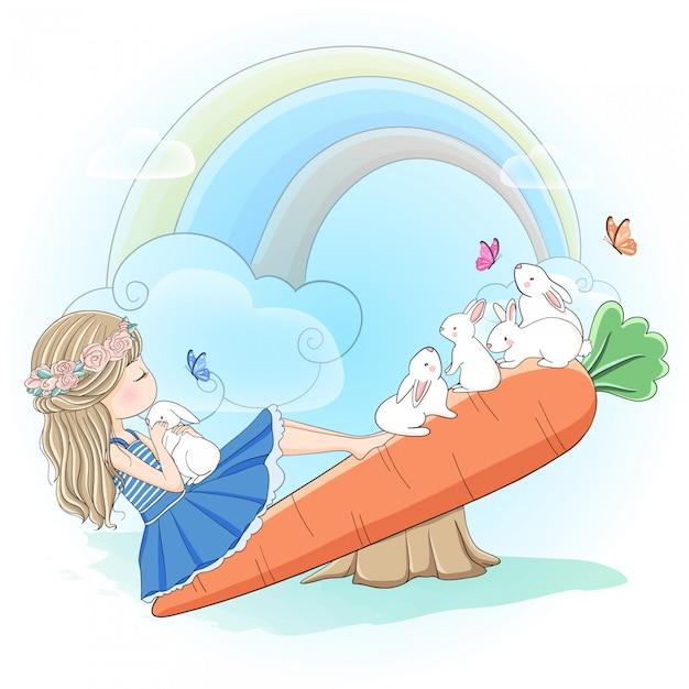 ニンジンシーソーでウサギと遊ぶかわいい女の子 Premiumベクター