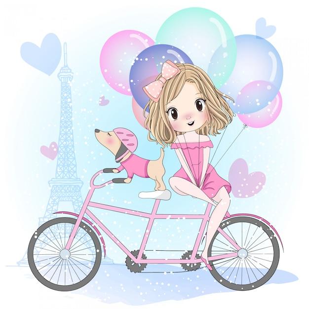 自転車に座っているかわいい犬と手描きかわいい女の子 Premiumベクター