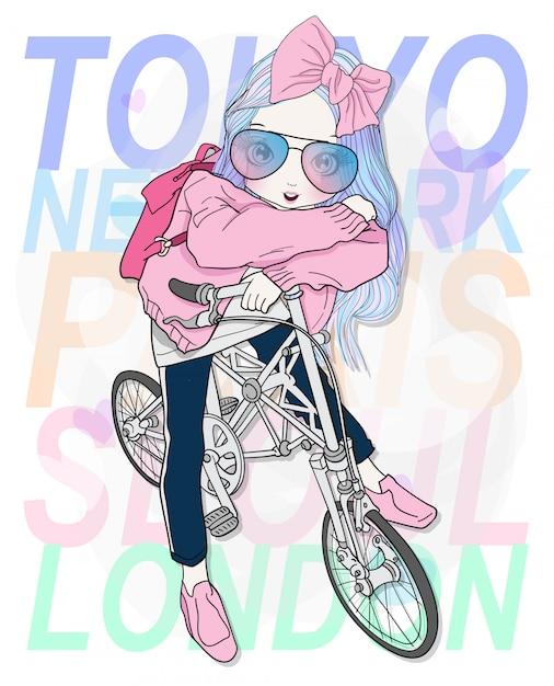 自転車に乗って手描きのかわいい女の子 Premiumベクター